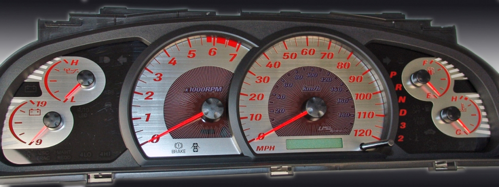 Toyota Tundra 2005-2006  Mph, 7000 Tach, Auto Stainless Steel Gauge Face With Blue Back