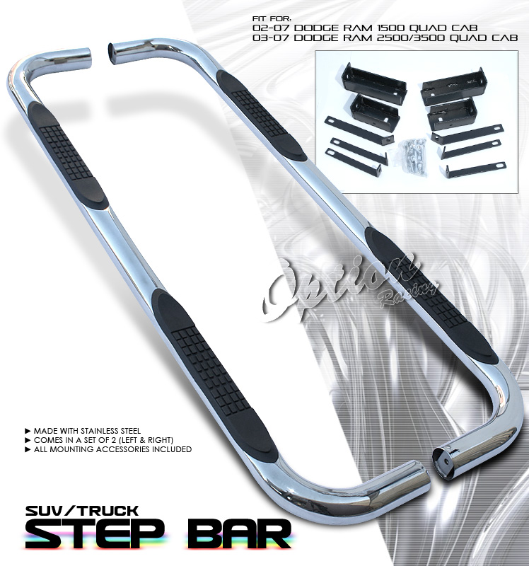 Dodge Ram 2002-2007 P/u 1500 Quad Cab Stainless Step Bars