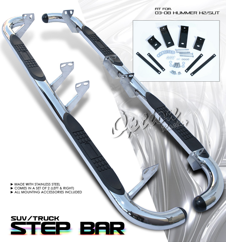 Hummer H2 2003-2008   Stainless Step Bars