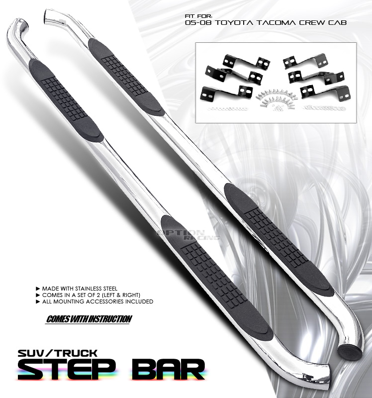 Toyota Tacoma 2005-2008  Double Cab Stainless Step Bars