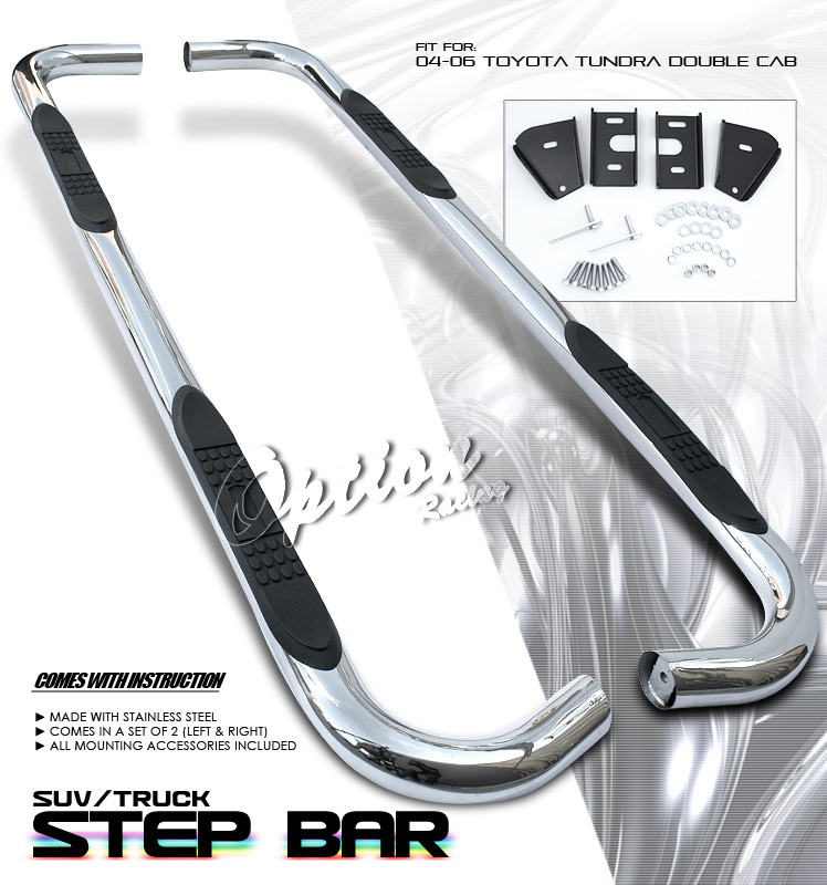 Toyota Tundra 2004-2006  Double Cab  Stainless Step Bars
