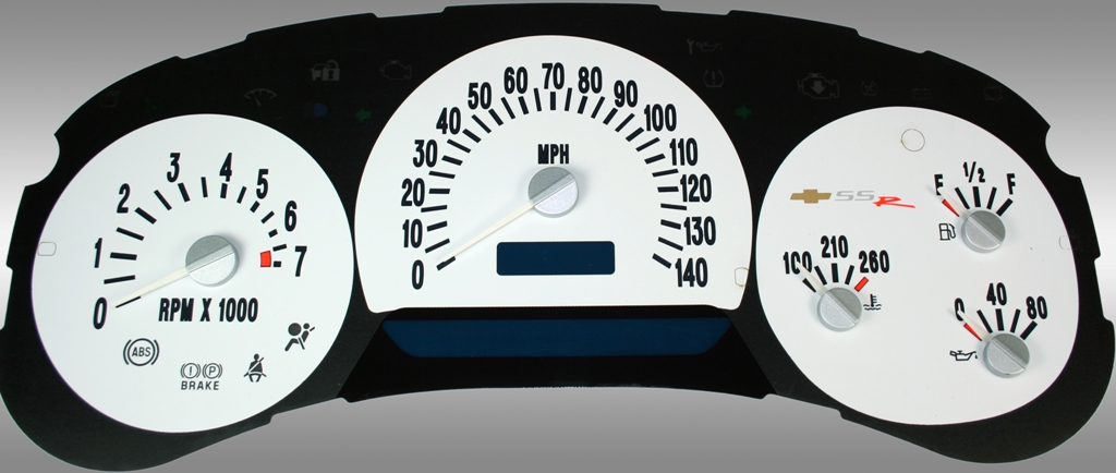 Chevrolet Ssr 2003-2005  White / Blue Night Performance Dash Gauges