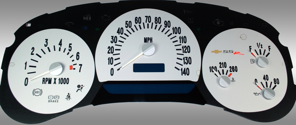 Chevrolet Ssr 2003-2005  Silver / Blue Night Performance Dash Gauges