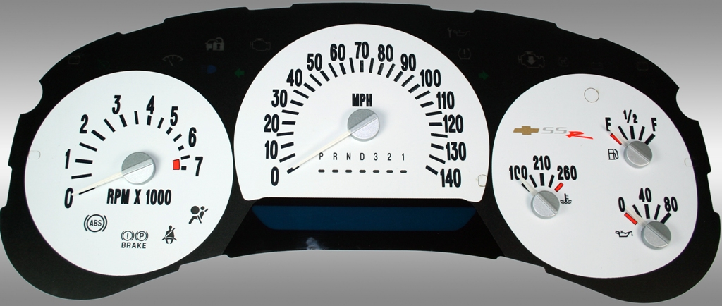 Chevrolet Ssr 2006-2006  White / Blue Night Performance Dash Gauges
