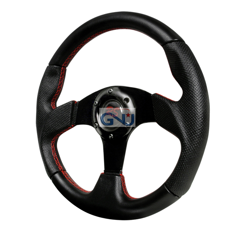 Momo Net Style Steering Wheel - (black W/ Red STItch)