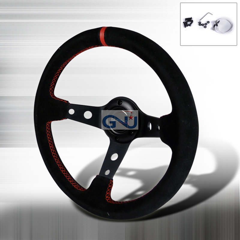 Deep Dish  - 330mm Steering Wheel - (black Suede W/ Red STItch)