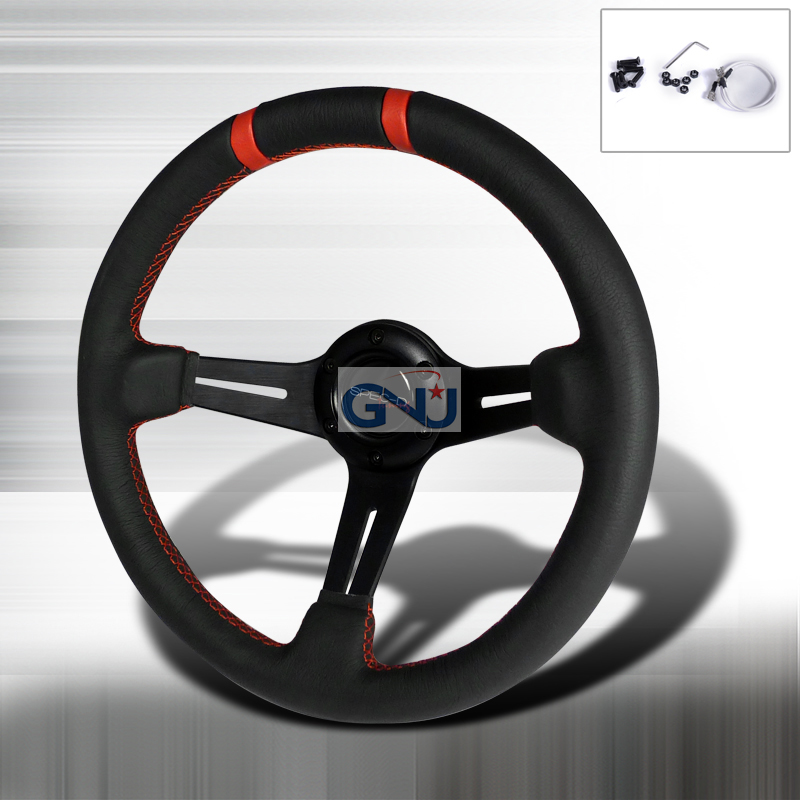 Deep Dish  -330mm Steering Wheel - (black Leather W/ Red STItch)