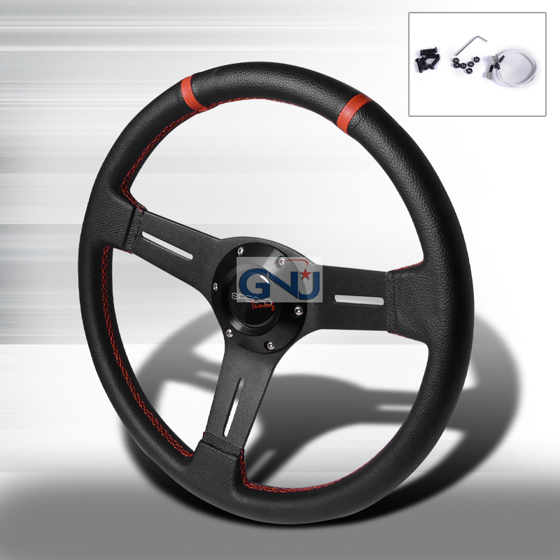 Dish  - 340mm Steering Wheel - (black Pvc Leather W/Red STItch)