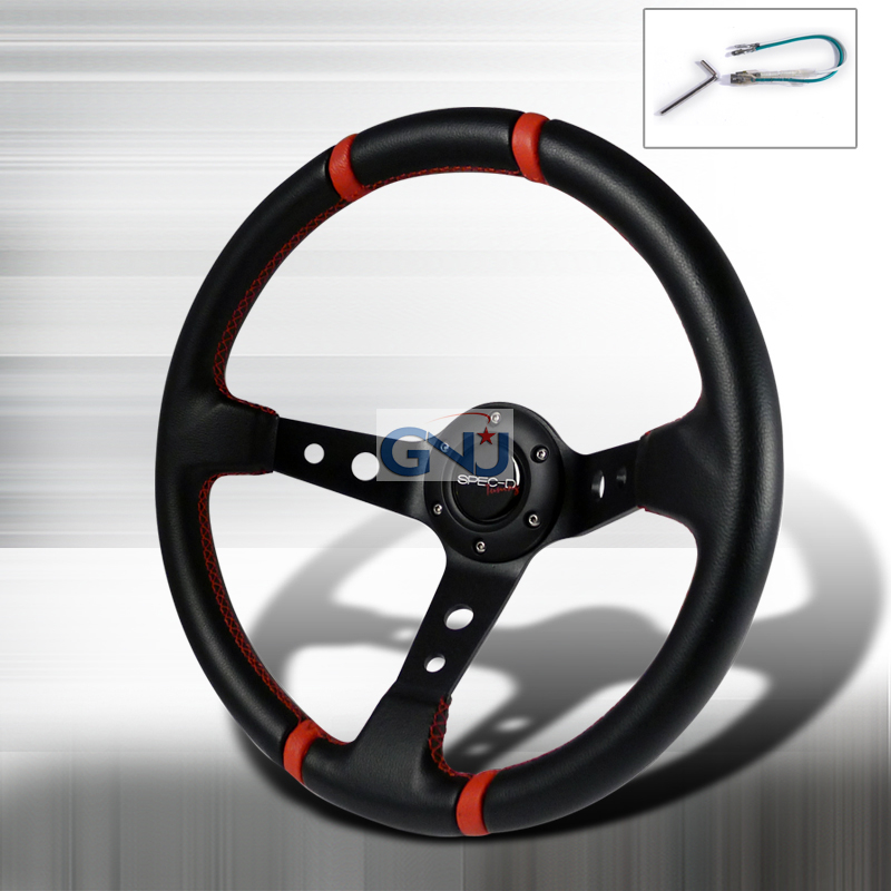 Deep Dish  - 350mm Steering Wheel - (black Pvc Leather W/Red STItch)