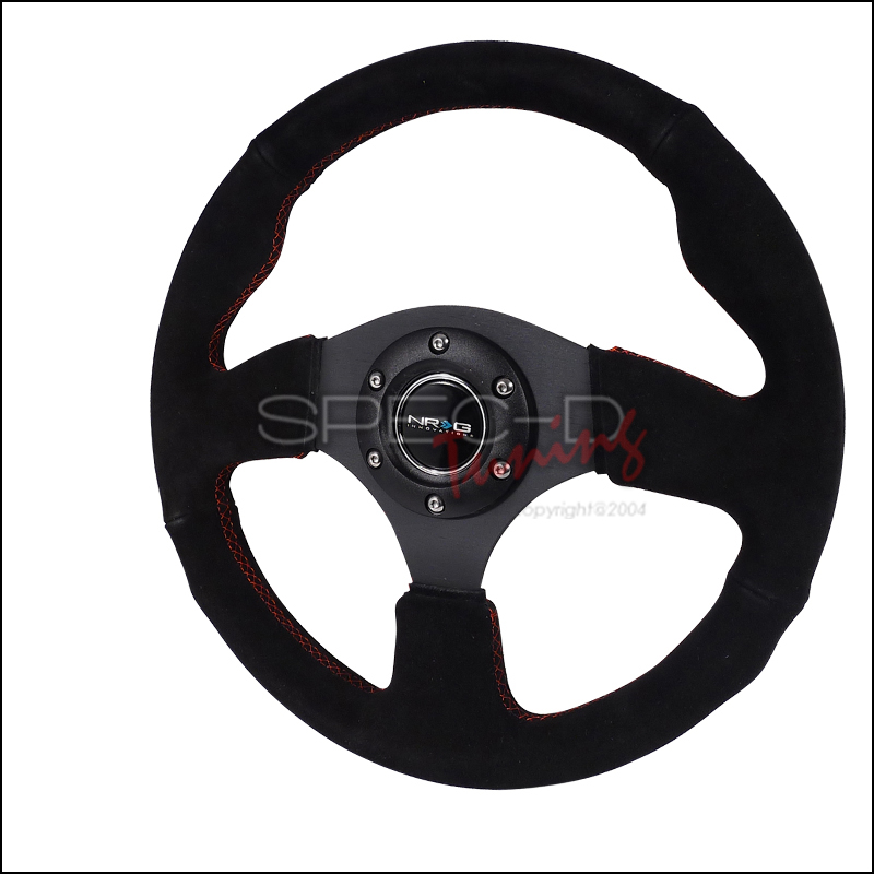 Nrg Steering Wheel - (black Suede Leather W/ Red STItch)