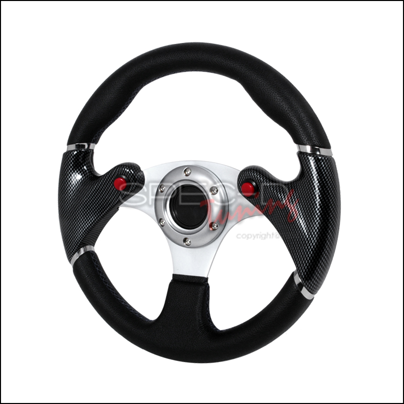 F16 Carbon 320mm Steering Wheel - (black W/ Blue STItch)