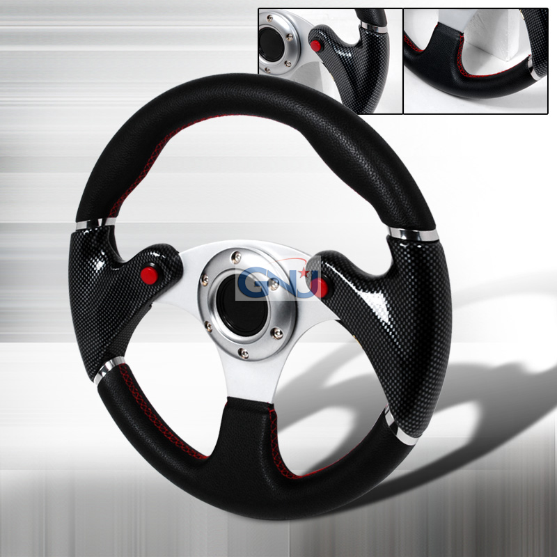 F16 Carbon 320mm Steering Wheel - (black W/ Red STItch)