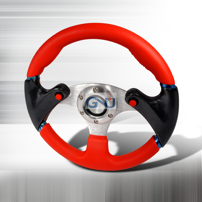 F16 Carbon 320mm Steering Wheel - (red / Black)