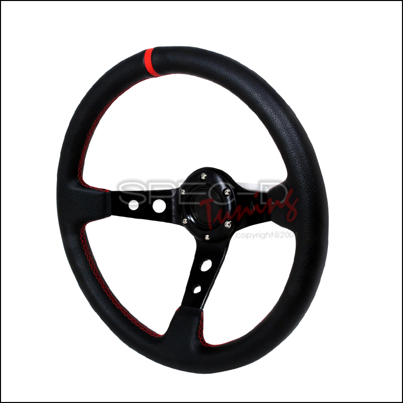 Deep Dish 320mm Steering Wheel - (black W/ Red STItch)