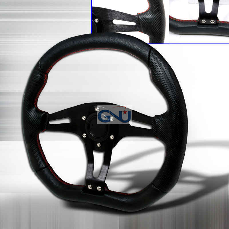 Technic 350mm Steering Wheel - (black W/ Red STItch)