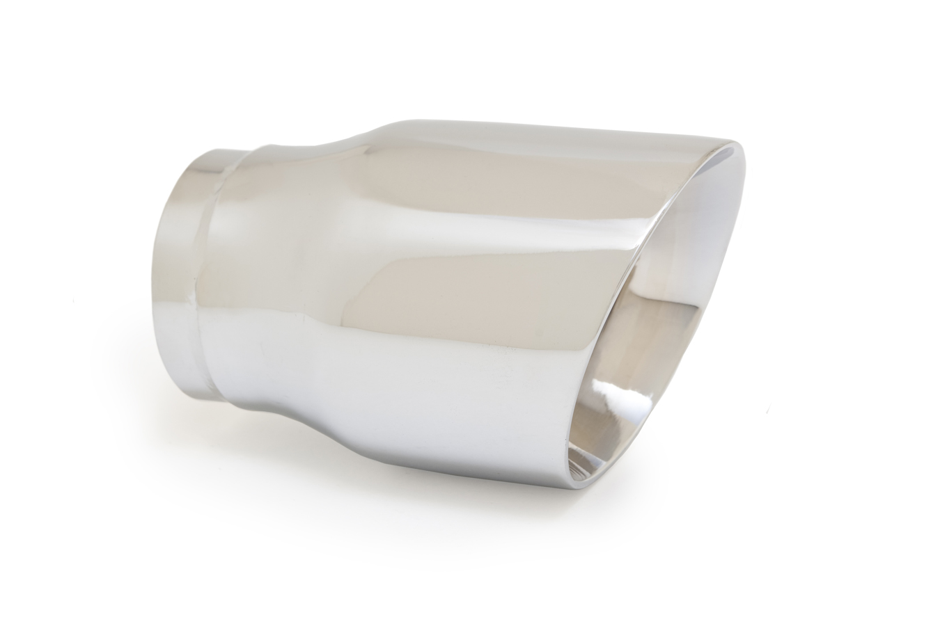 "Ractive Muffler Tip - 2.5"" In / 3.5"" Out / 5.5"" O.Length / Round Double Wall Slant Cut Muffler Tip"
