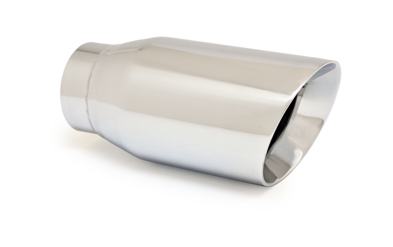 "Ractive Muffler Tip - 2.5"" In / 3.5"" Out / 7.5"" O.Length / Round Double Wall Slant Cut Muffler Tip"