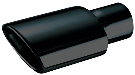 "Ractive Muffler Tip - 2.5"" In / 4.5""W X 3.25""H Out / 9"" O.Length / Med Oval Blk Chrome Muffler Tip"