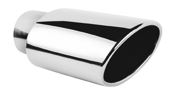 "Ractive Muffler Tip - 3.125"" In / 6""W X 4""H Out / 9.75"" O.Length / Oval Rolled Edge Muffler Tip"