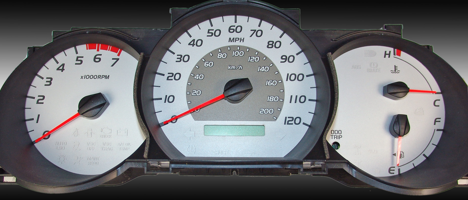 Toyota Tacoma 2005-2008  Silver / Amber Night Performance Dash Gauges