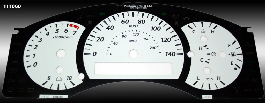 Nissan Titan 2004-2007  White / Amber Night Performance Dash Gauges