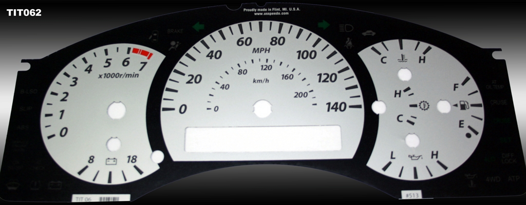 Nissan Titan 2004-2007  Silver / Amber Night Performance Dash Gauges