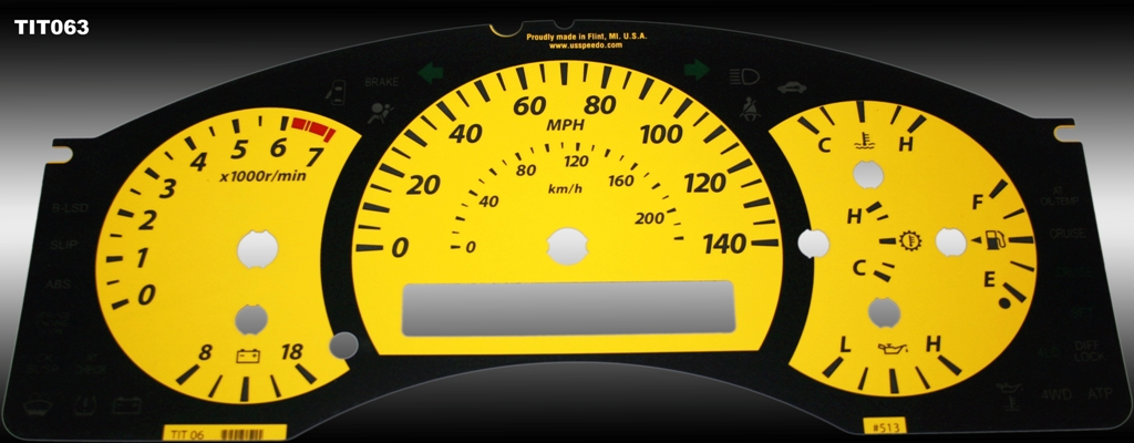 Nissan Titan 2004-2007  Yellow / Amber Night Performance Dash Gauges
