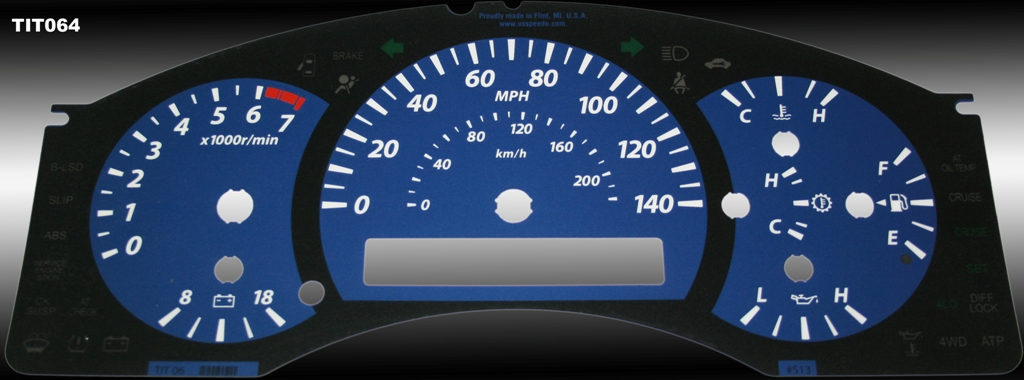Nissan Titan 2004-2007  Blue / Amber Night Performance Dash Gauges