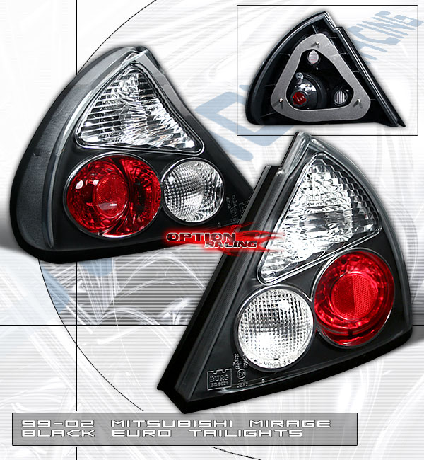 Mitsubishi Mirage 1999-2002  Black Euro Tail Lights