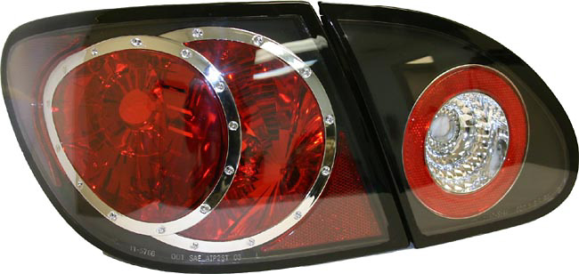 Toyota Corolla 2003-2005 Black Euro Tail Lights