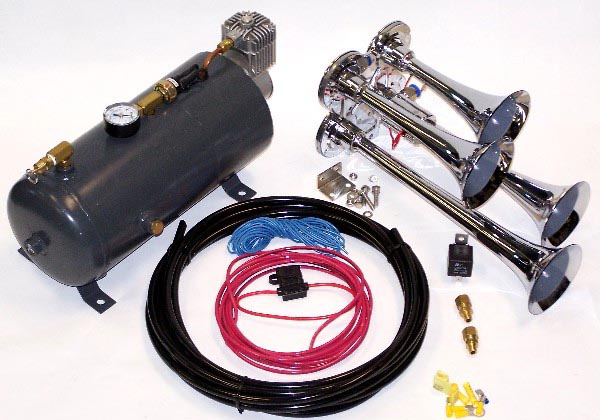 Trumpet Train Horn (4) Package with 12v Compressor System