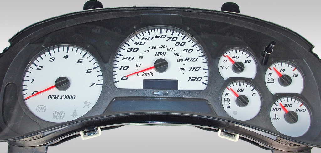 Gmc Envoy 2002-2005  White / Blue Night Performance Dash Gauges