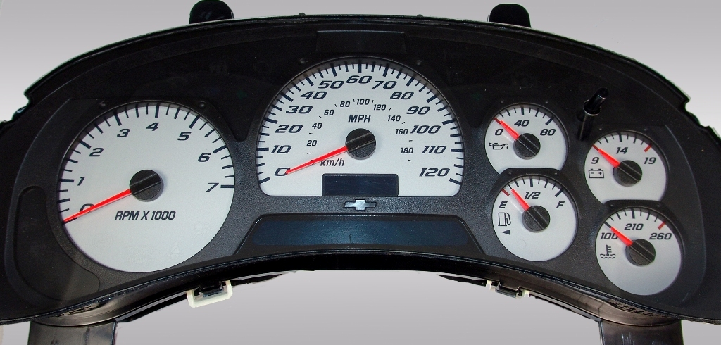 Gmc Envoy 2002-2005  Silver / Blue Night Performance Dash Gauges
