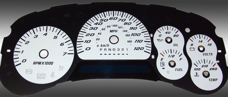 Chevrolet Trailblazer 2006-2009  White / Blue Night Performance Dash Gauges