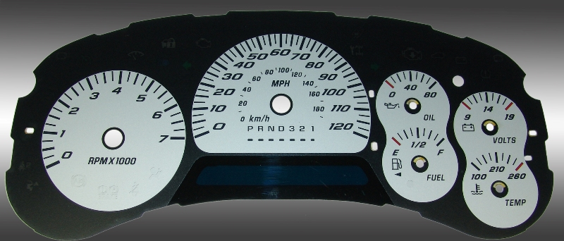Chevrolet Trailblazer 2006-2009  Silver / Blue Night Performance Dash Gauges