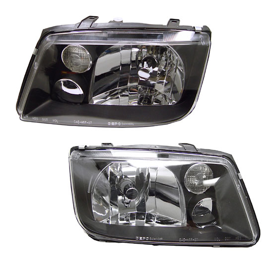 Volkswagen Jetta Headlights 99-04 Black Housing Diamond Cut