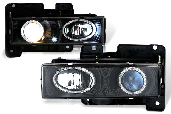 Chevrolet Suburban 1992-1999 Black/Blue Halo Projector Headlights