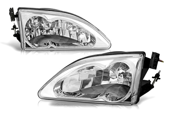 Ford Mustang 1994-1998 Chrome/Clear OEM Headlights