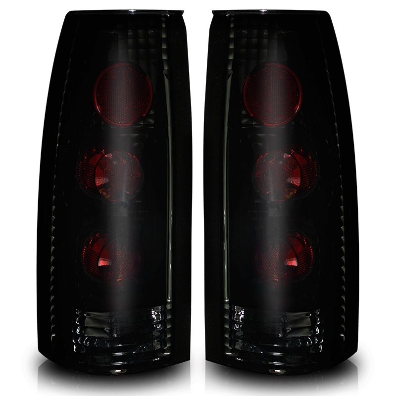 Gmc Full Size Pickup  1988-1998 Black/Smoke Euro Tail Lights