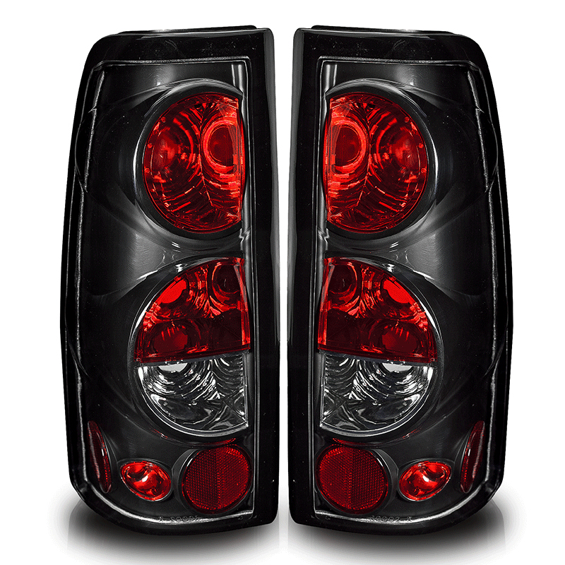 Gmc Sierra  1999-2002 Black/Clear Euro Tail Lights