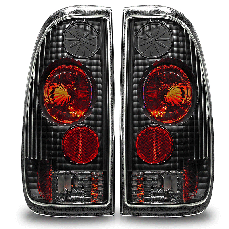 Ford Super Duty 1999 2007 Black Clear Euro Tail Lights By