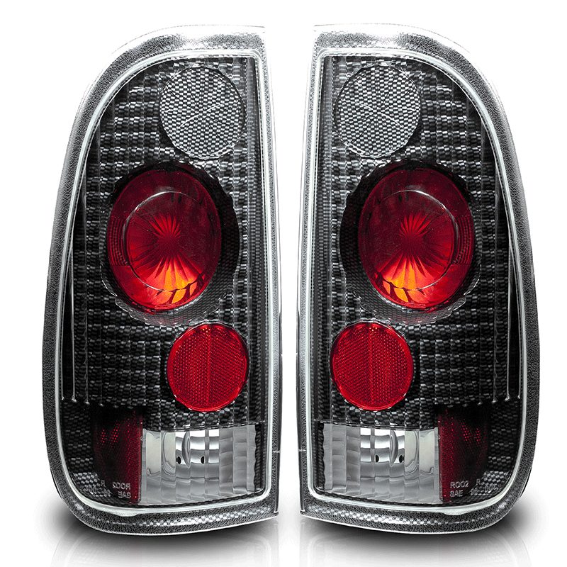 Ford Super Duty  1999-2007 Carbon Fiber / Clear Euro Tail Lights