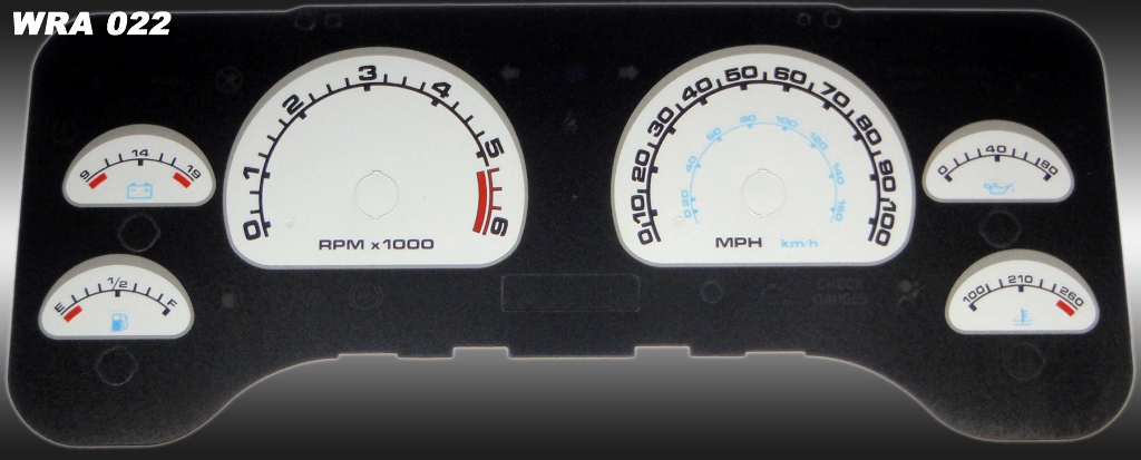 Jeep Wrangler 2001-2006  Silver / Blue Night Performance Dash Gauges