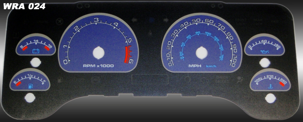 Jeep Wrangler 2001-2006  Blue / Blue Night Performance Dash Gauges