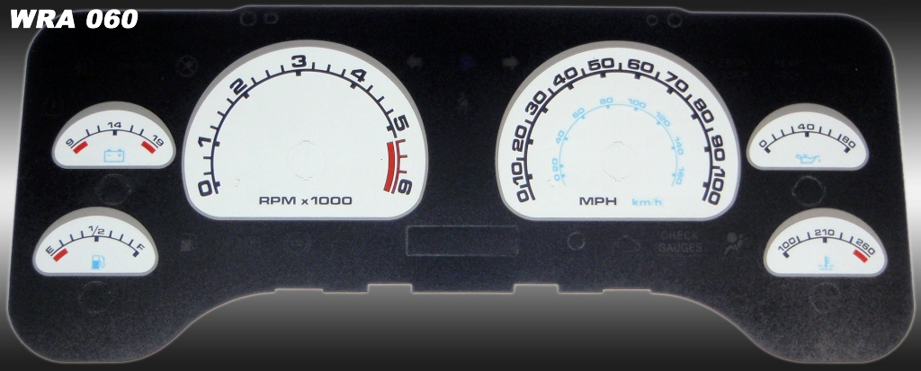 Jeep Wrangler 2001-2006  White / Blue Night Performance Dash Gauges