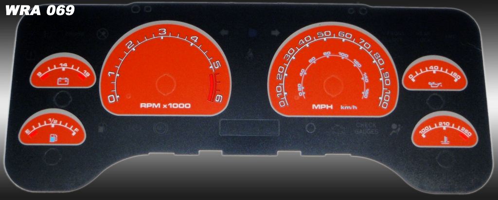 Jeep Wrangler 2001-2006  Orange / Blue Night Performance Dash Gauges