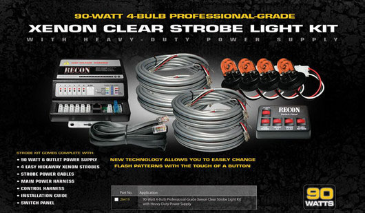 Xenon Strobe Light Kit- 90 Watts RED Bulbs