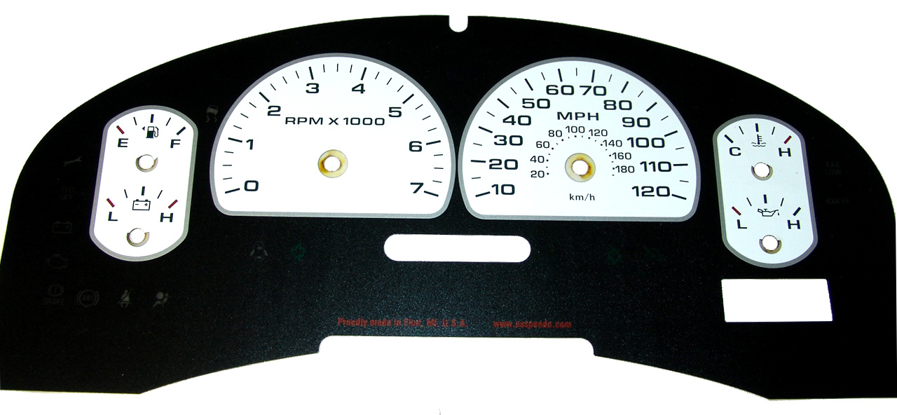 Ford F150 2007-2008 Xlt Only White / Green Night Performance Dash Gauges