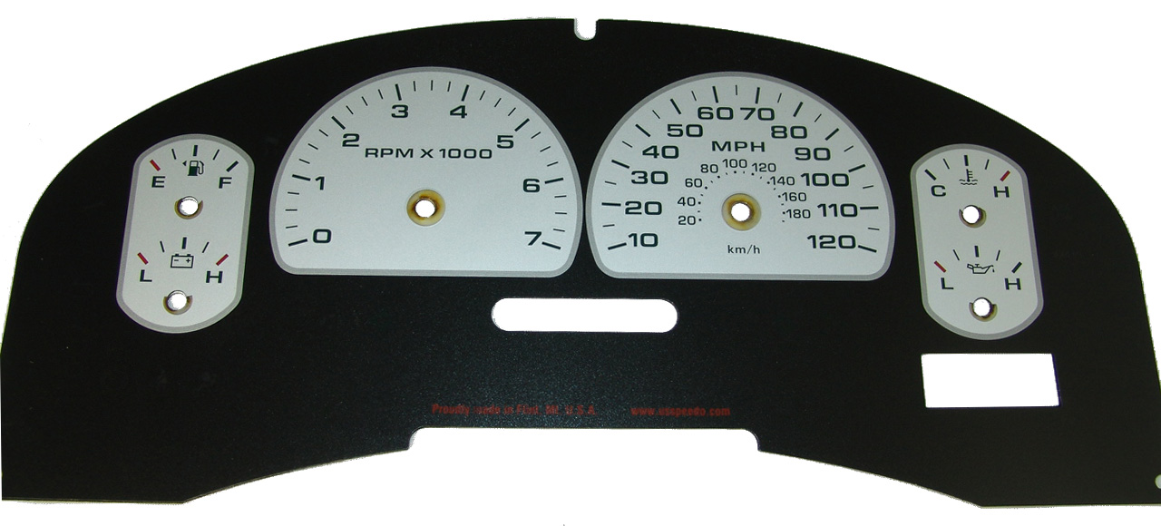 Ford F150 2007-2008 Xlt Only Silver / Green Night Performance Dash Gauges