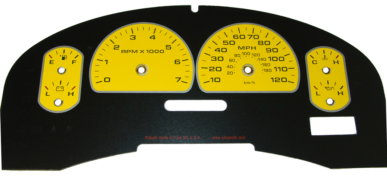 Ford F150 2007-2008 Xlt Only Yellow / Green Night Performance Dash Gauges